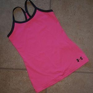 Under Armour Heat Gear Pink Tank Girls Sm YSM